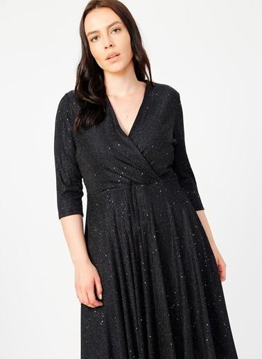 Selen Selen Kruvaze Yaka Elbise Siyah
